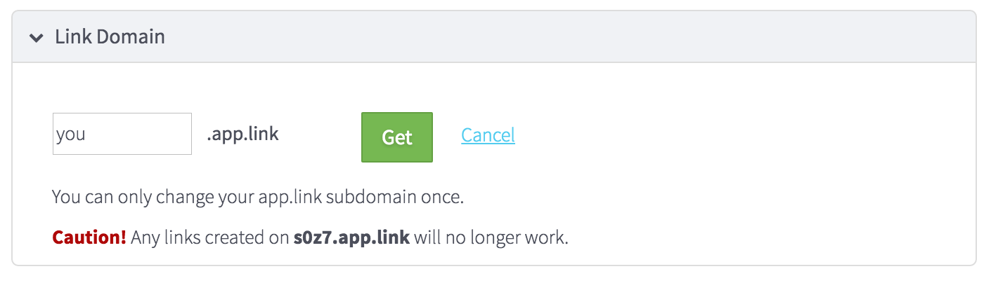 Custom app.link subdomain configuration