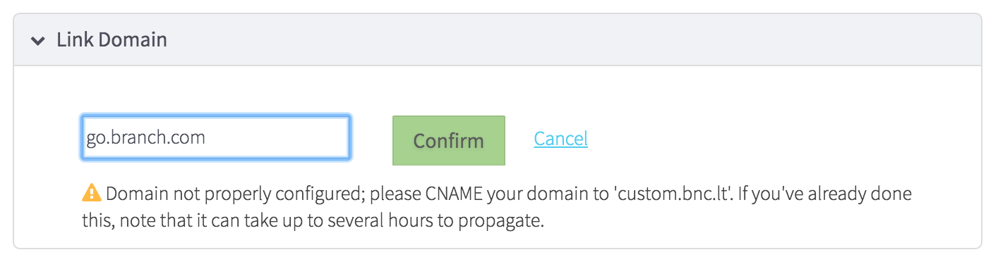 successful custom subdomain configuration